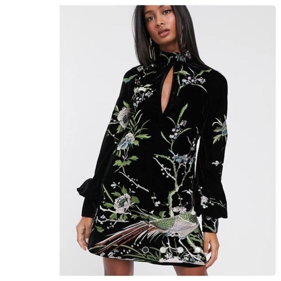 ASOS Design Embroidered Velvet Shift Mini Dress, 4